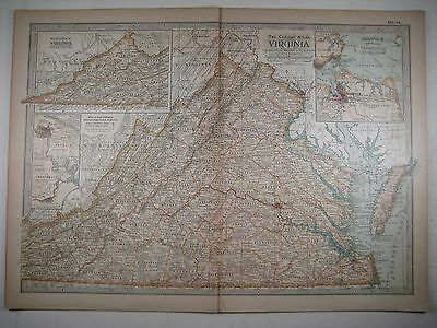 1897 Map of Virginia - from The Century Atlas - Richmond & Norfolk insets