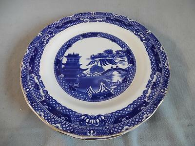 Wade - Pretty set of four willow pattern blue & white dinner plates - Ringtons