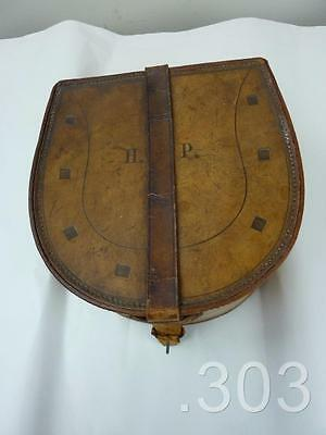 Vintage Antique Horse Shoe Shaped Spare Collar Leather Travelling Case Carrier