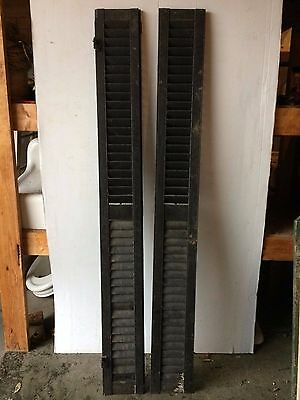 Two Antique Shutters Window Wood Louvered Shabby Old Chic Vtg 8.5x77 2227-16