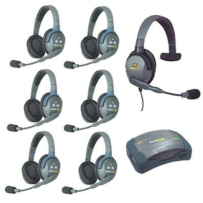 Eartec UltraLITE 7 user Intercom Sys, 6 Wireless Double Headsets 1 Wired Single