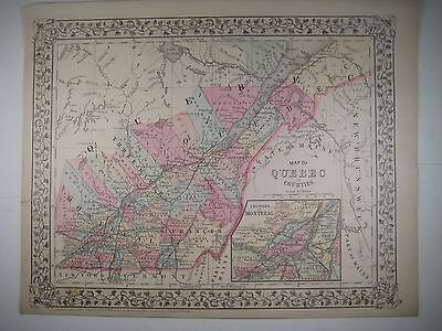 Original 1882 Mitchell Map of Quebec in counties