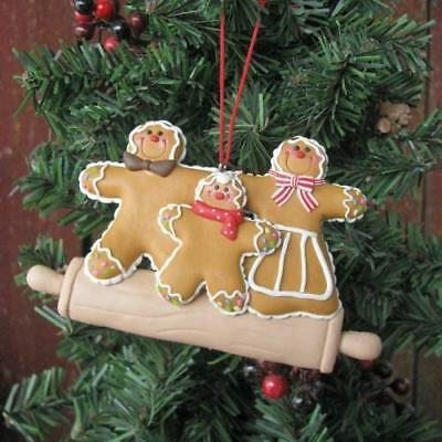 "Homemade Look! 4"" GINGERBREAD MAN TRIO Ornament - Boy Man Girl Men"