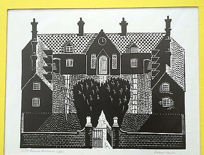 MICHAEL MOULDER Limited Edition LINOCUT Ashcombe Almshouses, Lyford
