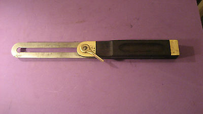 "Vintage 10"" Hardwood & Brass Sliding Bevel"
