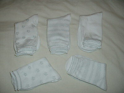 Five (5) Pairs Girls Lovely White & Silver Ankle Socks Age 7-10  Years  New