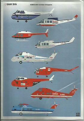S&M Decals SM72-007 Civilian Choppers (Helicopters) in 1:72 Scale