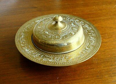 """Etched BRASS DISH WITH LID, Accented with White, 5.75"""" Diameter"""