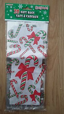 Candy Cane Cello Plastic Gift Bags (20 pack)