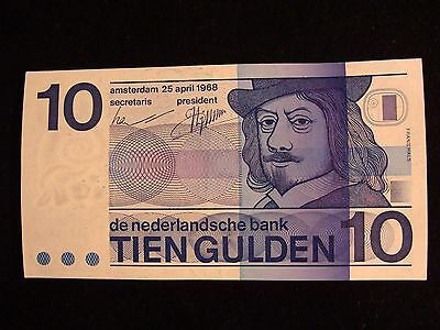 RARE Netherlands Banknote, 10 Gulden 1968 UNC with LEAKING BLUE PAINT M8