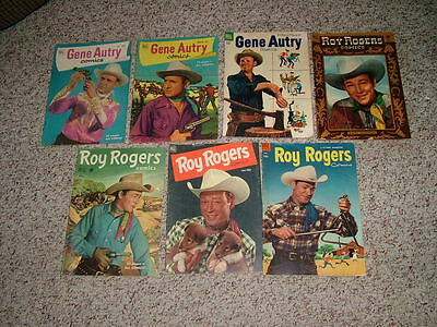 Lot of 7 Dell Golden Age Western Comics-Roy Rogers and Gene Autry