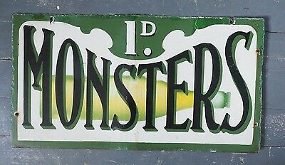 Antique Enamel Sign c1911 Double Sided  MONSTERS
