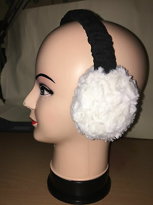 Toddler Winter Ear Muffs white pompom with black headband  ideal stocking filler