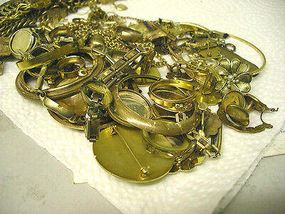 446 Grams  9-14K Gold Filled Lot Pocket Watch Watch Cases Chains Fobs And Misc