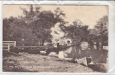 Vintage Postcard The Mill Stream, Alverstone, Isle Of Wight Boats & Swans