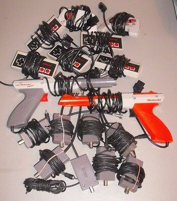 Nintendo Lot NES For parts repair 7 Controllers 8 RF Adapters 2 Zapper Gun As-is
