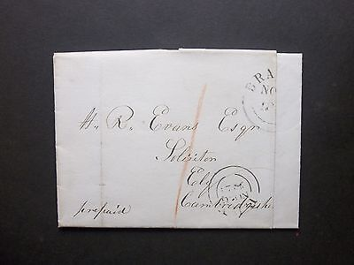 GB Norfolk 1845 1d paid Entire Letter from Weeting with part BRANDON cds to Ely