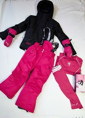 Girls SHREDZ ALOHA TOG24 winter SKI Bundle Salopettes Jacket Thermals Gloves 5-6