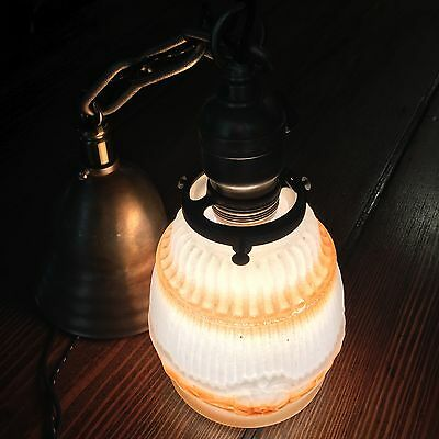 "19"" Long Vintage Antique Pendant Light Brass Antique Shade Wired Great Look!!!"