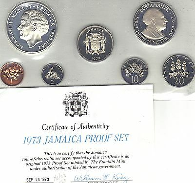 1973 Jamaica 7 Coin (1 SILVER) Proof Set