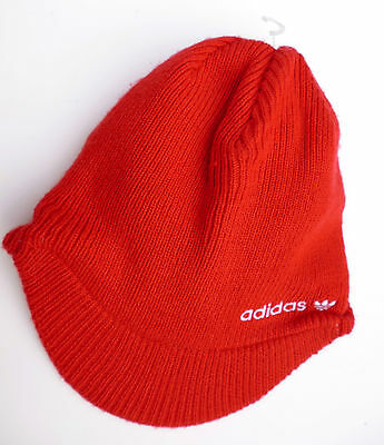 Retro ADIDAS reversible red-white winter hat cap Adults 57-60cm RARE!