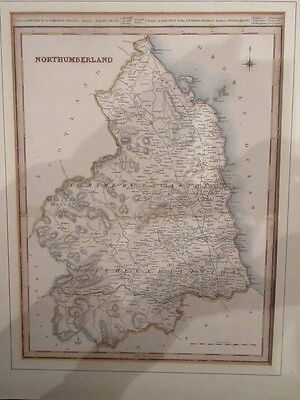 Antique County map Northumberland 1831 Topographical Dictionary of England