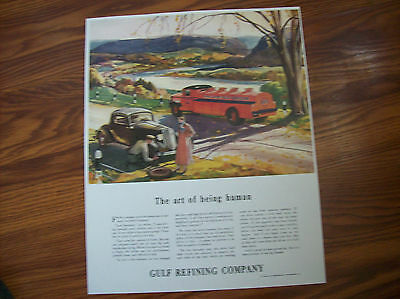 Gulf Gas 1934 poster 11x14 inches. Tanker plus more.