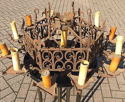 France Wrought Iron 13 light Church Chandelier