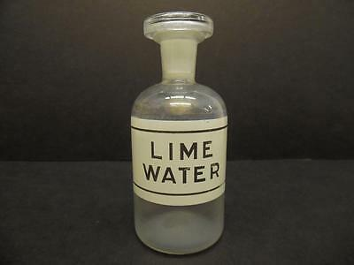Small Vintage Lime Water Glass Laboratory Apothecary Reagent Bottle (#24)