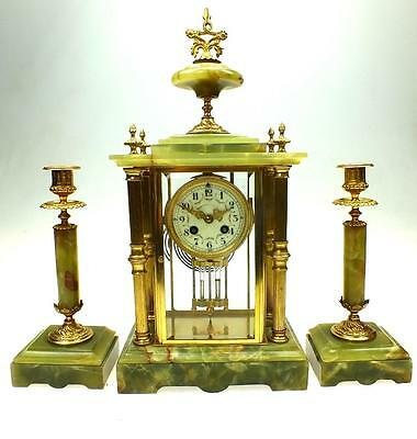 Antique 8 Day French Bronze Ormolu 4 Glass Mantel Clock Set Crystal Regulator