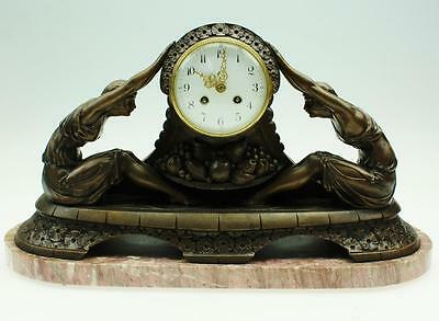 Rare Superb Antique French Lady Figural Art Deco 8 Day Striking Mantel Clock