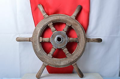 Antique Wood Helm Wheel  Early 1900's Vintage Classic Wood Boat - 707 -