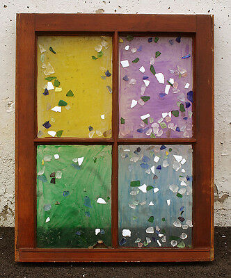 """20""""x25 Vintage Antique Wood Wooden Sash Window Stained Glass Lite Wall Art Decor"""
