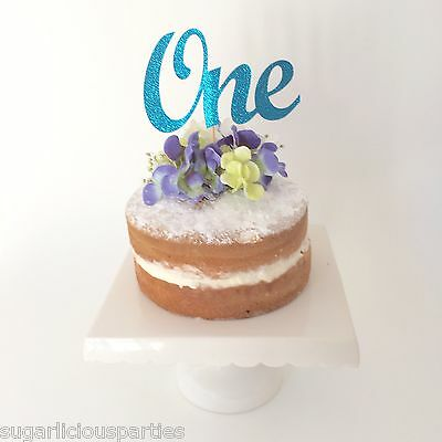 Turquoise Blue Glitter ONE (1) Cake Topper - 1st Birthday Cake Party Decoration