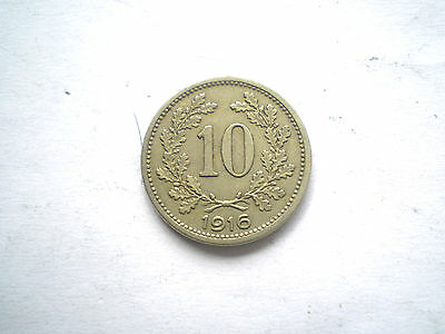 Early Ww1-10 Heller Coin From Austria-Dated 1916-Nice