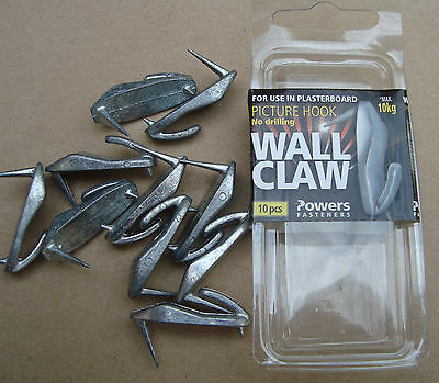 "Picture Hooks ""WALL CLAW"" Pkt 10 max load 10kg for plasterboard free post"