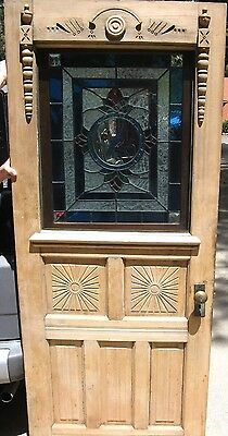"""Victorian Ornate Carvings Door w Hardware & Bluebird Stained Glass, 77"""" x 31.5"""""""