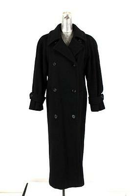 vintage womens black LONG WOOL COAT dress jacket double breasted M 10