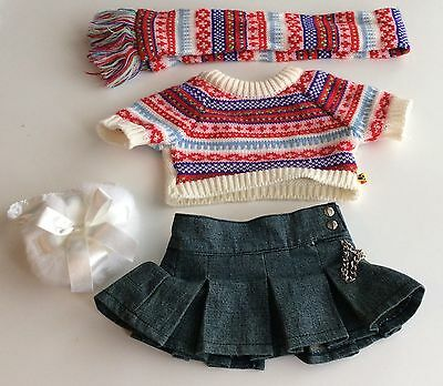 Build A Bear Clothes - Knit Sweater Scarf Skirt Purse