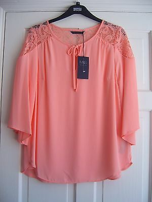 """M&S COLLECTION ~ Stunning Coral """"70's"""" Bohemian Chiffon Feel Lace Blouse Size 16"""
