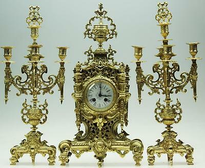 Stunning Large Antique 19thC French 8 Day Bronze Ormolu Gothic Mantel Clock Set