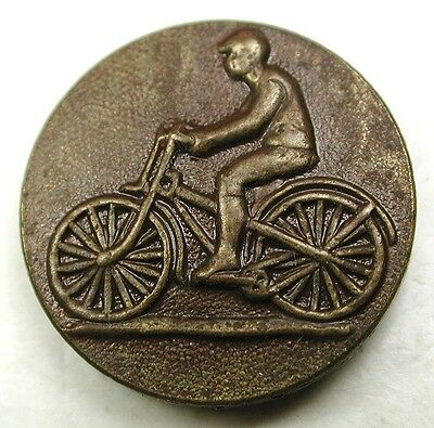 Antique Brass Button Man Riding Bicycle - Paris Back - 5/8""
