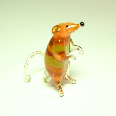 See VIDEO glass figurine amber RAT or Guinea pig. Blown glass Murano home decor