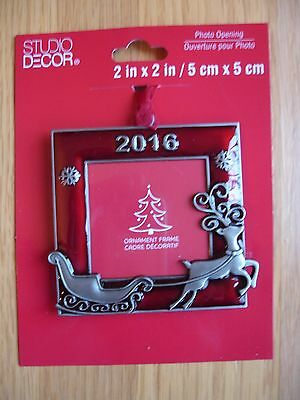 2016 Christmas Ornament Red Square Reindeer Sleigh Photo Picture Frame