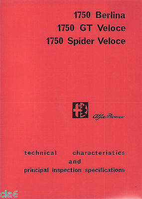 Alfa Romeo 1750 Berlina GT Spider Veloce Service Inspection Technical Book *NEW