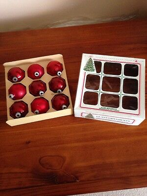 Vintage Christmas Baubles. Box Of 9 Red Mercury Glass