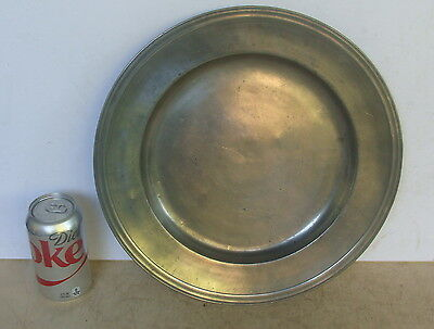 """19th C pewter reeded rim 13 1/2"""" charger, no reserve *"""