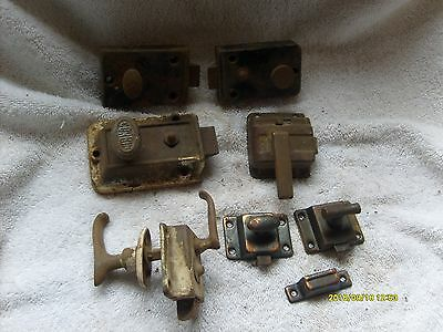 Old Steel & Cast Iron Victorian Cabinet Cupboard Screen Door Latch Locks Lot Nr