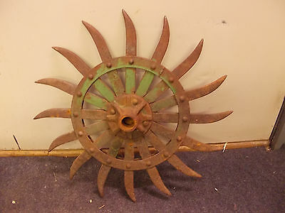 Antique Steampunk Iron JD Rotary Hoe Wheel Garden Farm Yard Art Decor