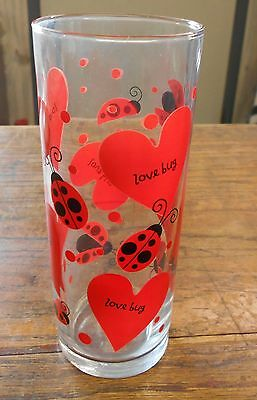 vintage Valentine red hearts with lady bugs Love Bug sayings tall glass vase